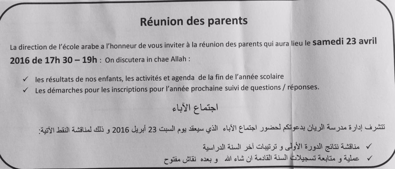 Réunion des parents 23 avril 2016 17h30 - 19h